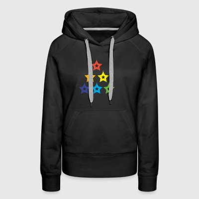 LGBT Rainbow Tree of Christmas Stars - Women's Premium Hoodie