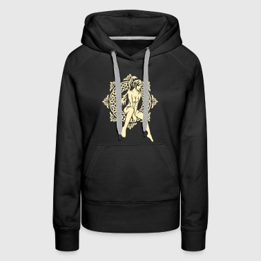 A girl and a Celtic pattern - Women's Premium Hoodie