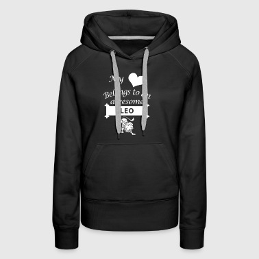 Leo Zodiac Lover Love Cool Gift My Heart Belongs - Women's Premium Hoodie