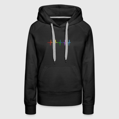 Rainbow Pulse Hearbeat LGBT - Women's Premium Hoodie