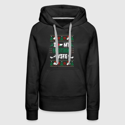 I Love My Palestinian Wife Ugly Christmas Sweater - Women's Premium Hoodie