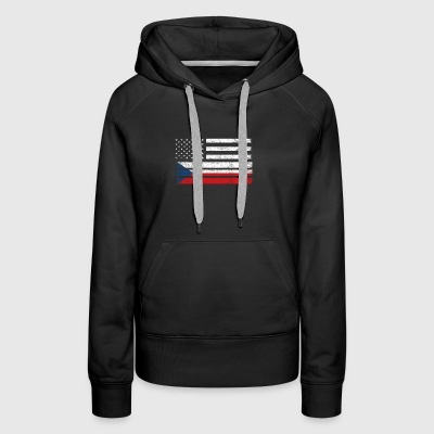 Czech American Flag - USA Czech Republic Shirt - Women's Premium Hoodie
