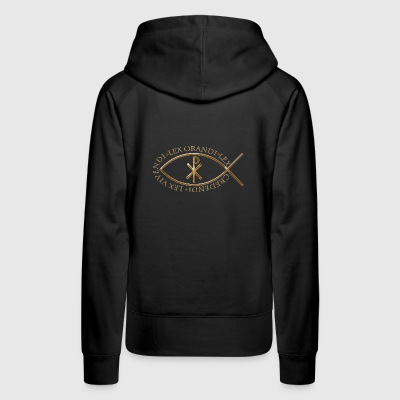 TRADITIONAL FISH SYMBOL W/CHI-RHO & LATIN PHRASE - Women's Premium Hoodie