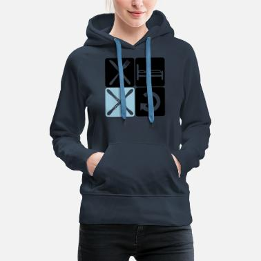 Ski Resort winter design buttons logo ski repeat daily eat sl - Women's Premium Hoodie