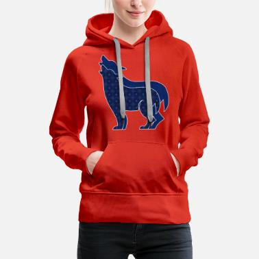 Blue Hue Patterned Howling Wolves in Navy Blue - Women's Premium Hoodie