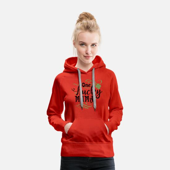 Birthday Hoodies & Sweatshirts - One lucky Mama - Women's Premium Hoodie red