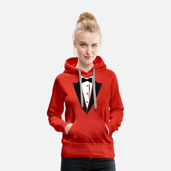 Wealth Hoodies & Sweatshirts - Hilarious Tuxedo - Women's Premium Hoodie red