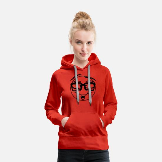 Stupid Hoodies & Sweatshirts - round circle naughty face comic cartoon funny nerd - Women's Premium Hoodie red