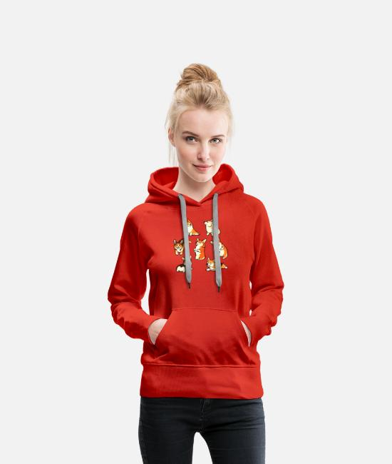 Pattern Hoodies & Sweatshirts - Jolly corgis in green - Women's Premium Hoodie red