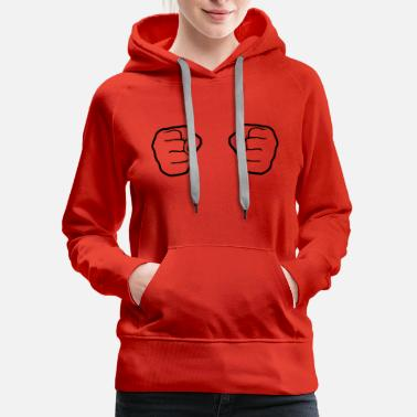 Cooler silhouette cool 2 hands fist hand clenched hit box - Women's Premium Hoodie