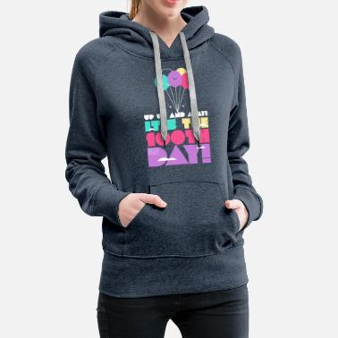 Cute Colorful Up and Away Balloon 100 Days of Scho - Women's Premium Hoodie