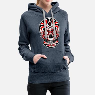 Sugar Skull of Death. Tribal Skull. Tribals Tattoo - Women's Premium Hoodie