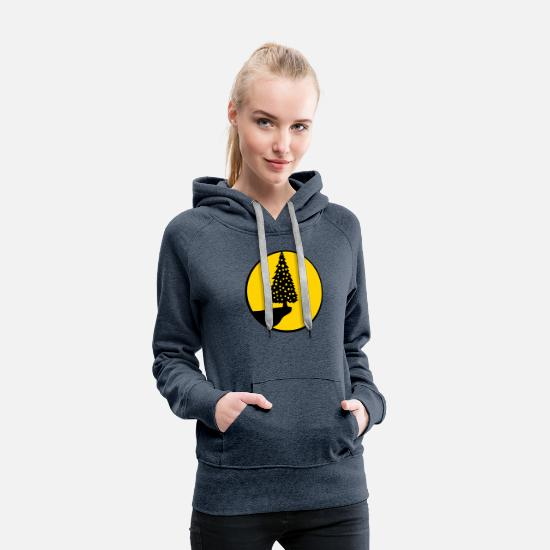 Lighthouse Hoodies & Sweatshirts - moon sun cliff mountain night lights fairy lights - Women's Premium Hoodie heather denim