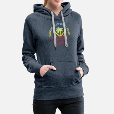 Surfer Surfing Surf Board Summer Sunset Palm Trees - Women's Premium Hoodie
