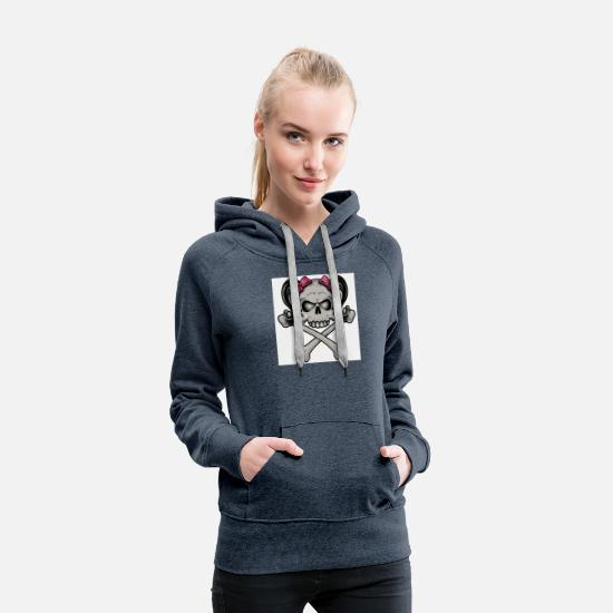 Pink Ribbon Hoodies & Sweatshirts - Girlie skull and crossbones - Women's Premium Hoodie heather denim