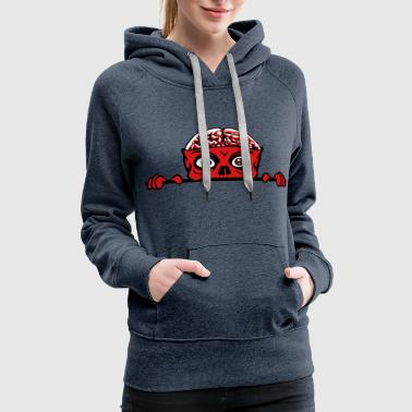 zombie hiding wall wall shield monster brain hallo - Women's Premium Hoodie