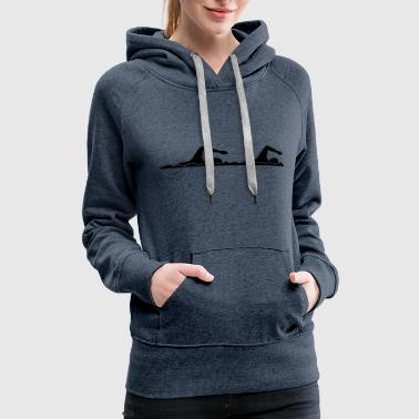 2 friends couple duo black swim swimmer club team - Women's Premium Hoodie