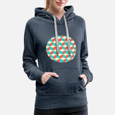 Optical Illusion Blocks Circle Optical Illusion Abstract Design - Women's Premium Hoodie