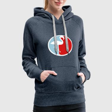 red blue circle round logo silhouette outline flam - Women's Premium Hoodie