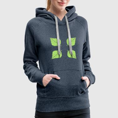 Square 4 leaves square pattern birch leaf tree plant shap - Women's Premium Hoodie