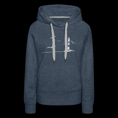 Seagulls lighthouse sea shore beach peaceful gift - Women's Premium Hoodie
