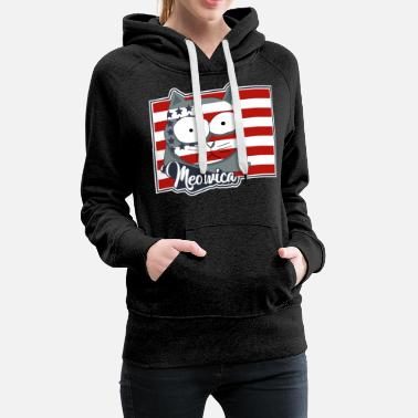 Cat Flag FREEDOM CAT FLAG Meowica Patriot Shirt - Women's Premium Hoodie