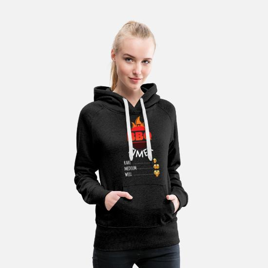 Birthday Hoodies & Sweatshirts - Novelty BBQ Timer Smoke Grill Party Cooking Tee - Women's Premium Hoodie charcoal gray