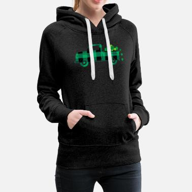 Shamrock St. Patricks Day Pickup Retro With Shamrocks Class - Women's Premium Hoodie