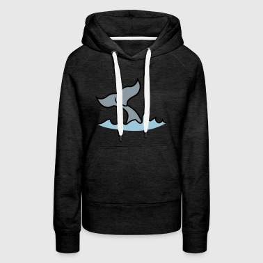 waves fin gray whale blue whale pot whale humpback - Women's Premium Hoodie