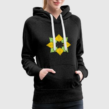 Logo many leaves colorful autumn silhouette star shape - Women's Premium Hoodie