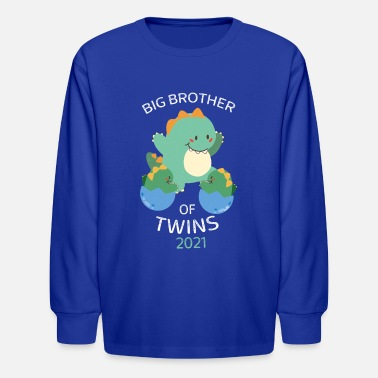 Dinosaur Obsession Big Brother of Twins 2021 Dinosaur Twin - Kids' Longsleeve Shirt