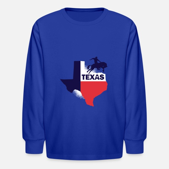 Texas Long-Sleeve Shirts - Texas Tshirt Texas map and Rodeo cowboy Texas flag - Kids' Longsleeve Shirt royal blue