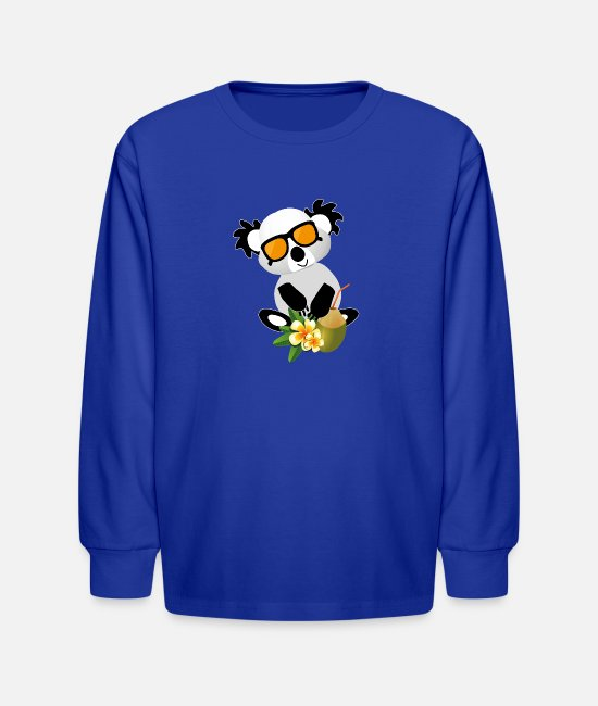 Holiday Island Long-Sleeved Shirts - Panda with coconut and sunglasses perfect holiday - Kids' Longsleeve Shirt royal blue