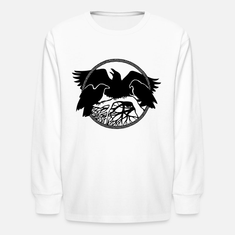 Hood Nation T-Shirts - raven art gift spirit animal native crow art shirt - Kids' Longsleeve Shirt white