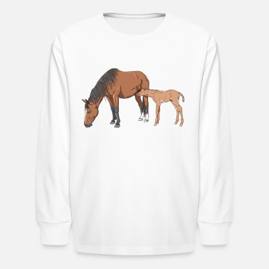 Foal mare & foal - Kids' Long Sleeve T-Shirt