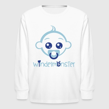 Babyface fashin Baby diaper monster babyface 2reborn - Kids' Long Sleeve T-Shirt
