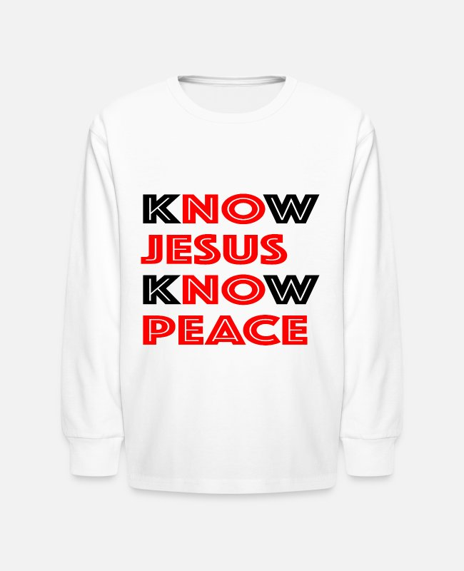 Know Jesus Long-Sleeved Shirts - Know Jesus Know Peace - Kids' Longsleeve Shirt white