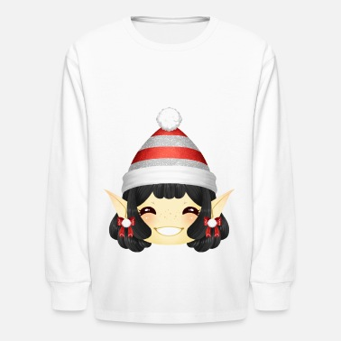 Happy Christmas Elf Girl with Bobcap in Red-Silver - Kids' Longsleeve Shirt