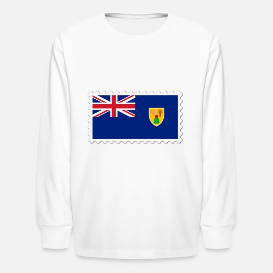 Border Long-Sleeve Shirts - Turks and Caicos Islands flag stamp - Kids' Longsleeve Shirt white