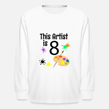 8 Year Old Art Painting Birthday Party 8th Birthday Shirt - - Kids' Longsleeve Shirt
