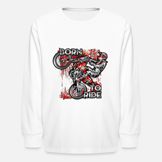 Bike Long-Sleeve Shirts - Born To Ride MotoX Dirt Bike - Kids' Longsleeve Shirt white