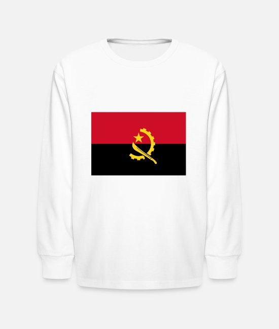 Angola Long-Sleeved Shirts - Angola country flag love my land patriot - Kids' Longsleeve Shirt white