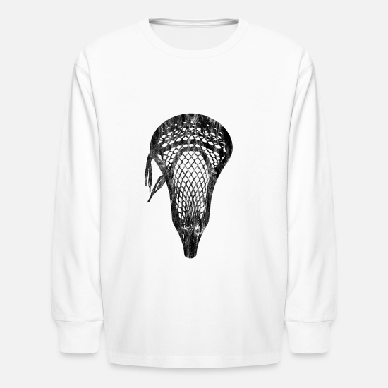 Lacrosse Long-Sleeve Shirts - Distressed Lacrosse Head Lacrosse Player Pocket - Kids' Longsleeve Shirt white