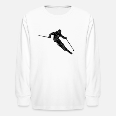 Skier Skiing 04 (Distressed Black) - T-shirt manches longues Enfant