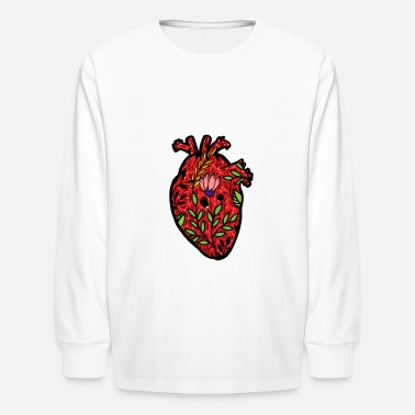 Preme Cool Artistic Anatomical Human Heart Science Shirt - Kids' Longsleeve Shirt