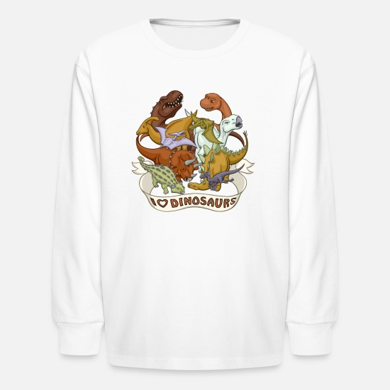 Babyproducts T-Shirts - I Heart Dinosaurs - Kids' Longsleeve Shirt white