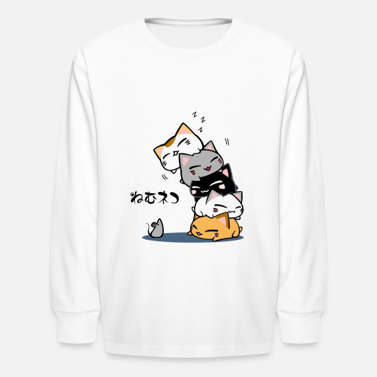 Collection T-Shirts - Neko Uh oh Cute Cat - Kids' Longsleeve Shirt white