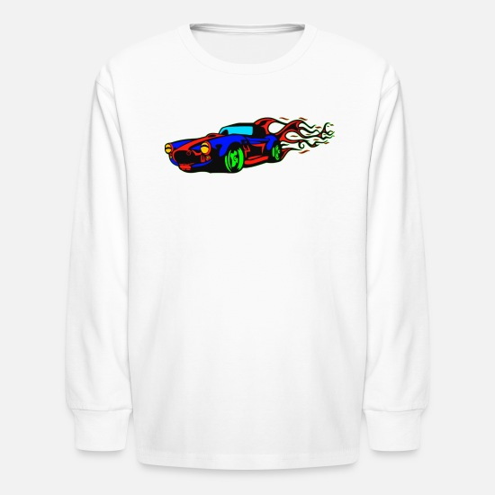 Car Long-Sleeve Shirts - racing car vehicle - Kids' Longsleeve Shirt white