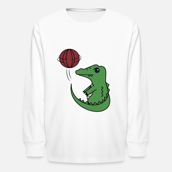 Crocodile T-Shirts - Little crocodile playing basketball - Kids' Longsleeve Shirt white