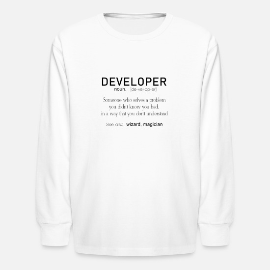 09d57724 Technology T-Shirts - Developer Definition Coder Definition Funny Programmer  - Kids' Longsleeve Shirt